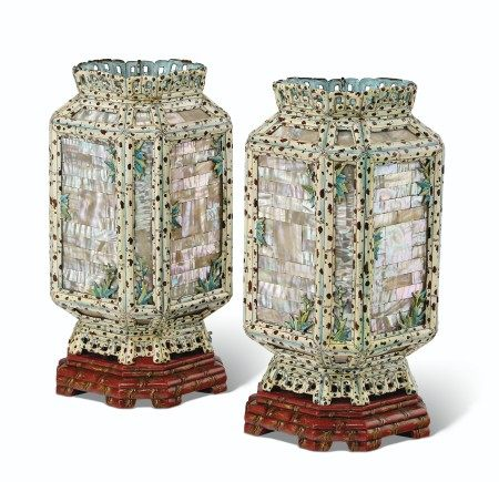 AN UNUSUAL PAIR OF CHINESE PAINTED ENAMEL AND MOTHER-OF-PEARL LANTERNS  QING DYNASTY, 18TH-19TH CENTURY