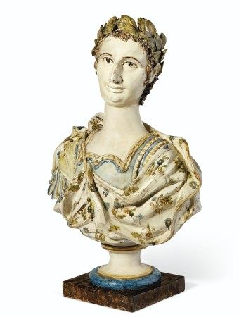 AN ITALIAN EARTHENWARE BUST AND A TERRACOTTA STAND  LATE 18TH/EARLY 19TH CENTURY