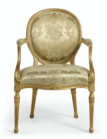 A SET OF TWELVE GEORGE III STYLE GILTWOOD ARMCHAIRS  19TH/20TH CENTURY