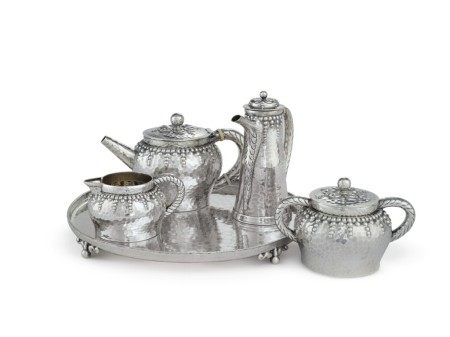 An American Silver Four-Piece Tea Set with Tray, Design Attributed to Charles Osborne, Tiffany & Co., New York, dated 1882