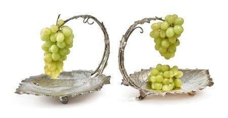 Two Matching American Silver Grape Stands, Redlich & Co, New York, circa 1900
