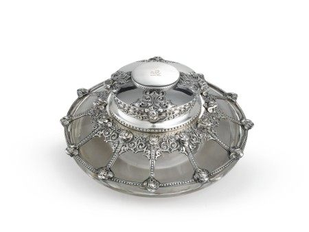 A Rare American Silver and Glass Viking-Style Inkwell, Design Attributed to Paulding Farnham, Tiffany & Co., New York, circa 1902