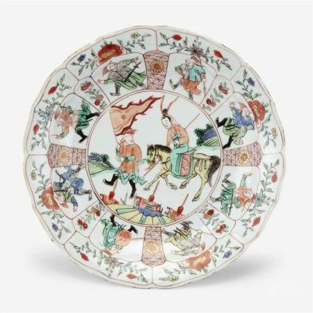 "A Chinese famille verte ""Mu Guyiying"" dish, circa 1700-1725"