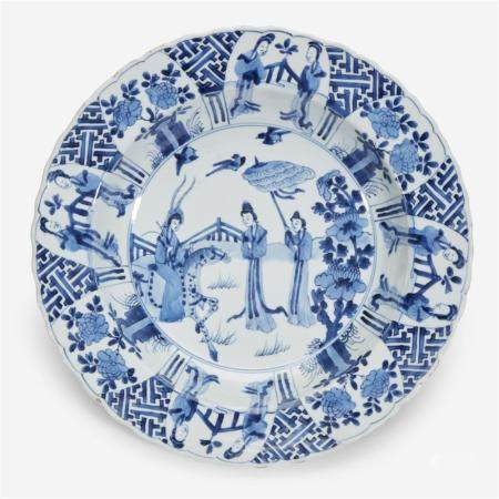 """A Chinese blue and white porcelain """"Female Warrior and Meiren"""" basin, Kangxi six-character mark and of the period"""