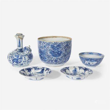 """Two small Chinese blue and white """"Meiren"""" dishes, Kangxi six-character marks and of the period"""