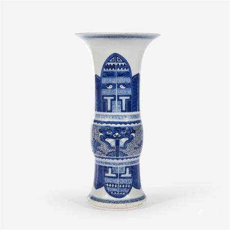 A large Chinese blue and white archaistic beaker vase, Possibly Kangxi period