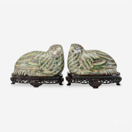 A pair of Chinese famille verte quail boxes and covers,
