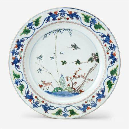 """A Chinese famille verte """"Deer and Crane"""" enameled blue and white porcelain charger, Kangxi period"""