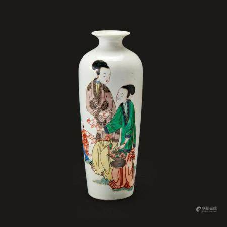 """A Chinese finely decorated famille verte """"Meiren and Boys"""" vase,"""