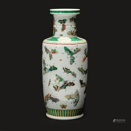 """A well-decorated Chinese famille verte porcelain """"Butterflies"""" rouleau vase,"""