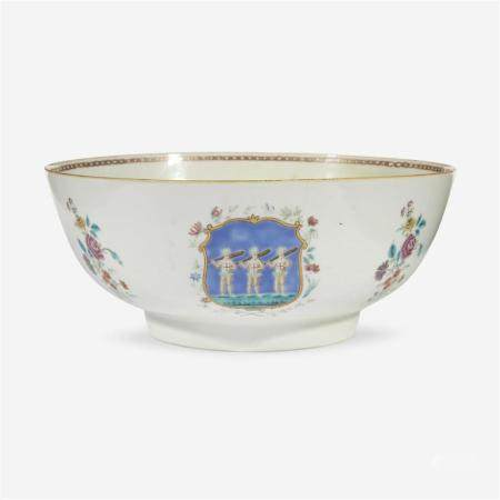 A Chinese export porcelain famille rose-decorated punch bowl, third quarter 18th Century