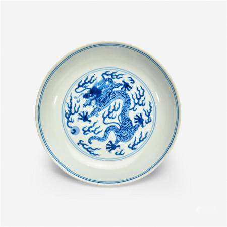 """A Chinese blue and white porcelain """"Dragon"""" dish, Qianlong six-character seal mark and of the period"""