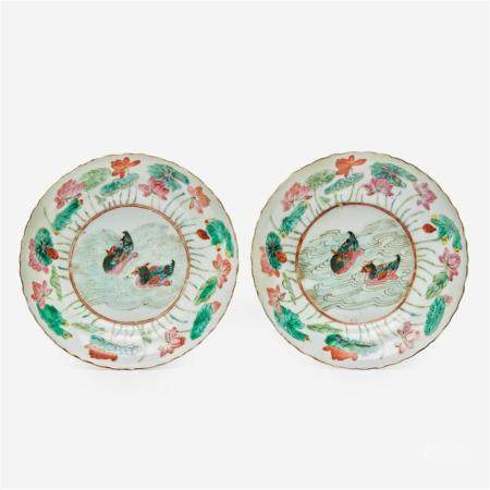 A pair of Chinese famille rose porcelain saucer dishes, Jiaqing six-character seal marks