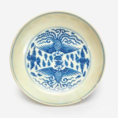 """A Chinese blue and white """"Double Phoenix"""" dish, Daoguang six-character seal mark and of the period"""