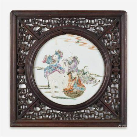 """A Chinese famille rose-enameled porcelain """"Sages and Elephant"""" plaque,"""