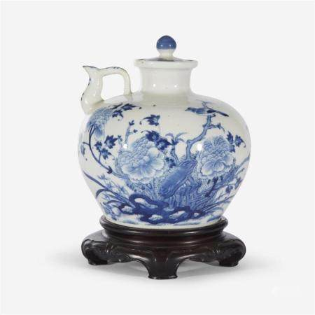A Chinese blue and white porcelain globular ewer and cover, Guangxu six character mark and possibly of the period