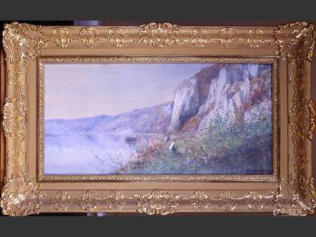 painting Painting / Cardboard - Riverside and fishermen - signed HAGEMANS Maurice