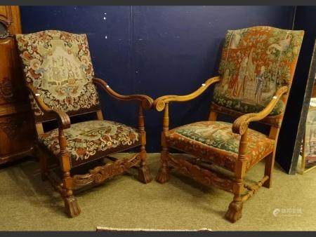 furniture  armchair style Louis XIV (2) late 19th C
