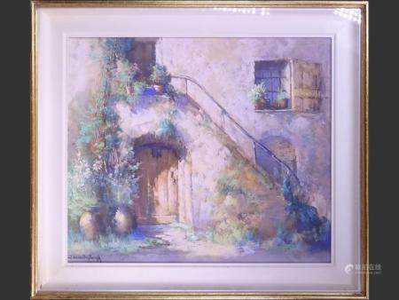 Painting Mixed media gouache / pastel - Flowery staircase - signed VAN DEN SEYLBERGH Jaak