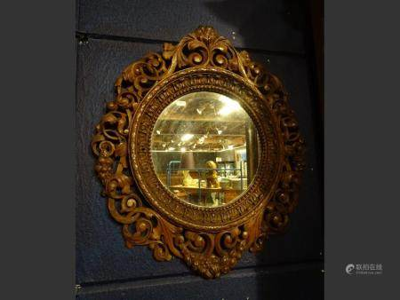 furniture  Mirror in openwork carved oak. NAPIII style. late 19th century