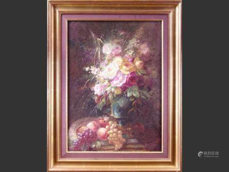 painting oil on canvas - still life with flowers and fruit - illegible signature