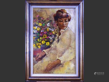 painting oil on canvas - young lady with flowers - signed VANDERSTRAETEN Lea