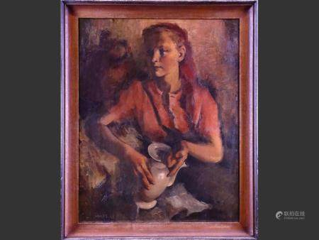 painting oil on canvas - Young woman with a coffee maker - 1942 signed CAMUS Gustave