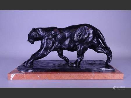 Sculpture Black patina bronze - walking panther - after BUGATTI Rembrandt