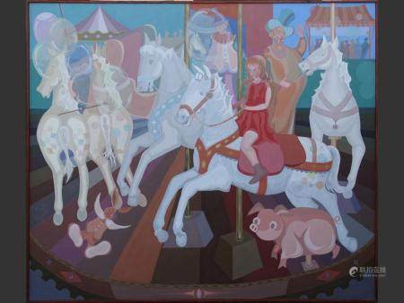 painting oil on canvas - animated carousel - signed BEKAERT Lucien 170x200cm