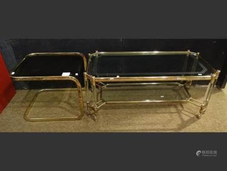 Furniture vintage golden and plexiglass living room table + end of sofa golden metal and glass shelf