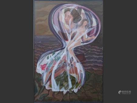 painting  Mixed media on canvas - Composition with women and rose - dated 1987/88 signed BEKAERT Lucien