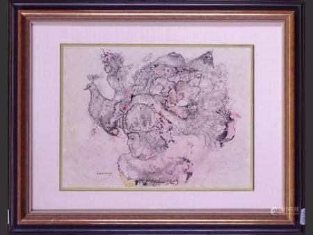 Painting Lavis ink / watercolor - Untitled - signed BURMAN Sakti