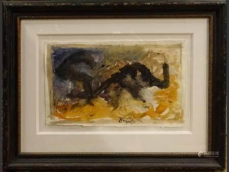 painting  watercolor/gouache (dech) - composition - 1954 signed BOGART Bram