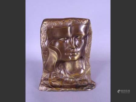 Sculpture Bronze with golden patina - Double face - E.A. signed CLEREN Jean-Paul