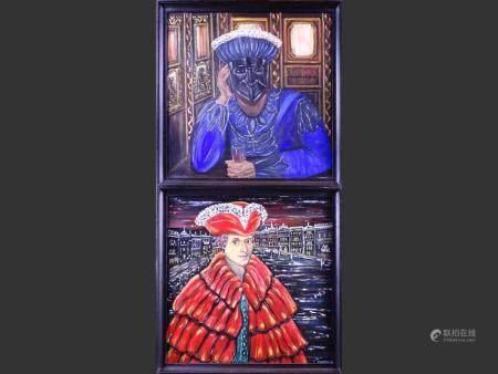 painting oil on panel (2) - la solitude - 1989 et - nobile veiziono - 1990 signed DEGRACE Fabienne