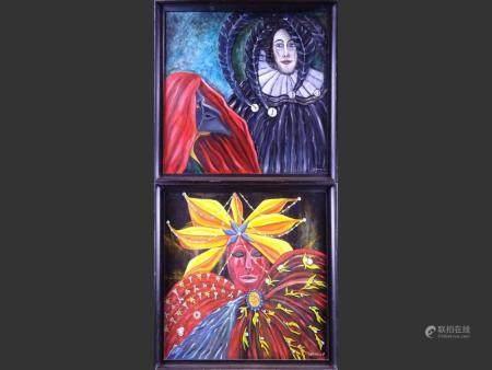 painting oil on panel (2) - cavaliere - 1986 et - perles et exotisme - 1988 signed DEGRACE Fabienne