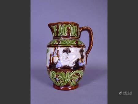 Ceramic Majolica earthenware jug Mouzin Lecat Nimy lez Mons late 19th C