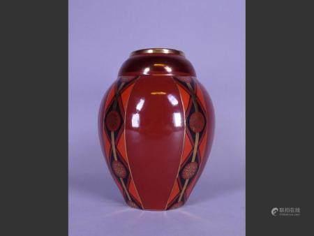 Ceramic Art-Deco earthenware vase St Ghislain Ecole de Lombart (hair line)