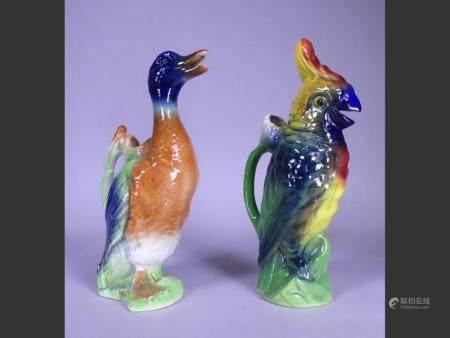 Ceramic Jug (2) majolica earthenware Saint-Clément France