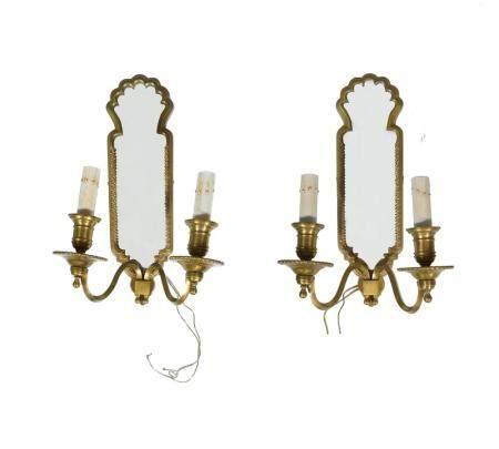 PAIR OF FRENCH BRONZE MIRRORED WALL SCONCES