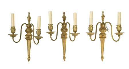 3 FRENCH GILT BRONZE WALL SCONCES