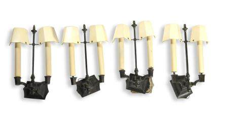 2 PAIR OF FRENCH WALL SCONCES WITH SHADES