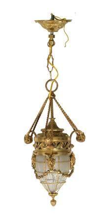 FRENCH GILT BRONZE PENDANT LAMP