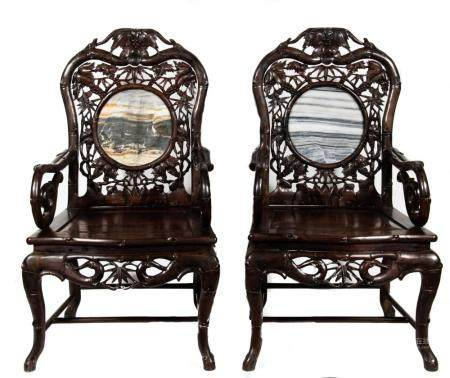 PAIR OF MARBLE-BACKED CHAIRS, 19TH CENTURY