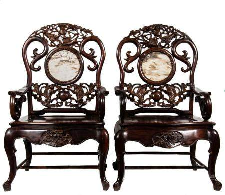 PAIR OF MARBLE BACKED CHINESE CHAIRS, 19TH Century