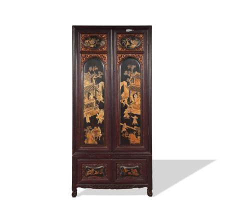 19TH Century CHINESE WOOD, LACQUER & GILT CABINET