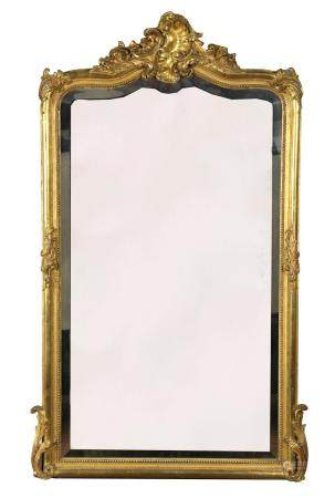 ANTIQUE FRENCH CARVED GILT MIRROR