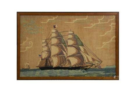 1933 NEEDLEWORK OF THE FLYING CLOUD CLIPPER SHIP