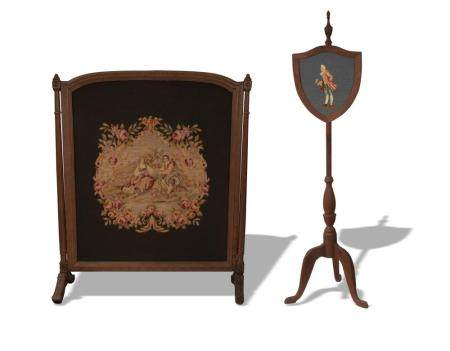 2 NEEDLEWORK FIREPLACE SCREENS, EARLY-20TH Century