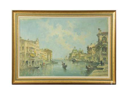 OIL ON CANVAS OF VENICE BY GIOVANNI RIVA